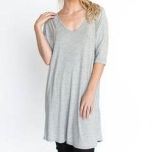 Agnes & Dora Love Tunic Gray T-Shirt Dress